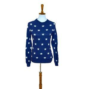 H&M navy stars American sweater long sleeve top xs